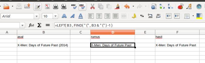 Tutorial Libre Office Calc: Mengambil Karakter Tertentu Sebelum Karakter Tertentu
